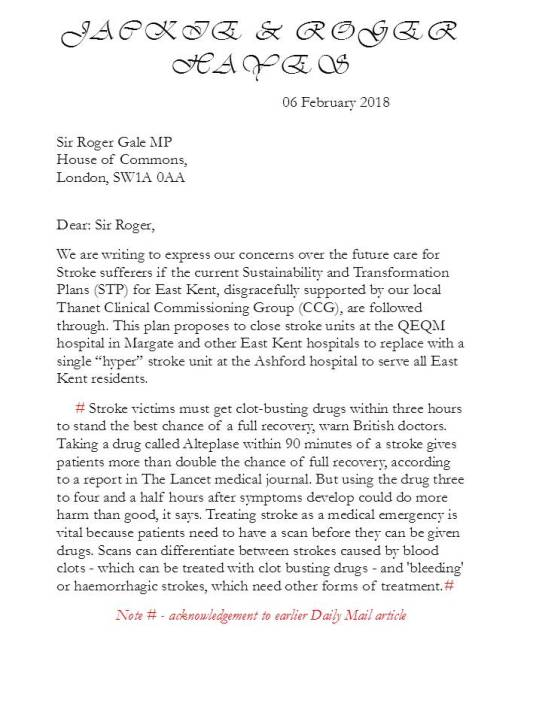 Letter to MP-Thanet North 1