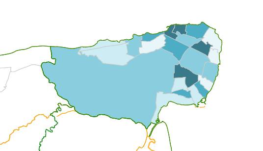 The darker the blue, the more admissions to hospital for stroke patients Thanet Map